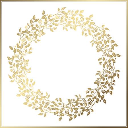 Schöne Weinlese-Kreis-Rahmen. Hochzeit Dekor. Perforierte Vorlage. Goldene Blätter und Beeren auf weißem Hintergrund.