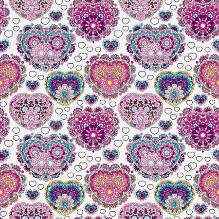 love explode: Vector background with  beautiful  hearts. Seamless pattern with ornate floral lace hearts. Lilac violet pink illustration. Valentine day lacy backdrop.