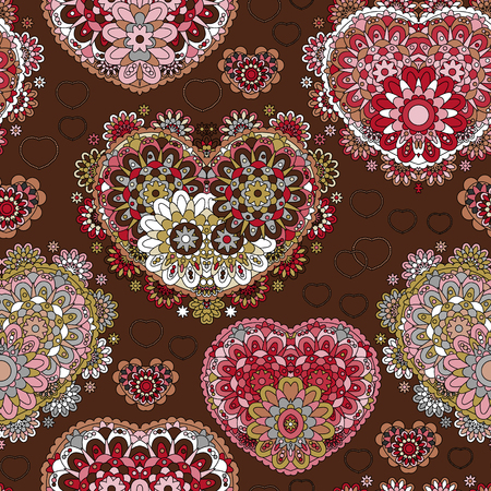 chocolate swirl: Seamless lace pattern of heart signs. Vintage, curled, swirl texture. Twist floral ornament of laurel leaves. Pink rose figure on chocolate background. Love, birthday, Valentine day, sale. Vector