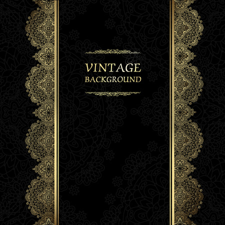 greeting card background: Vintage background, antique greeting card, black invitation with gold lace and floral ornaments, beautiful, luxury postcard, old paper, ornate page cover, ornamental pattern template for design