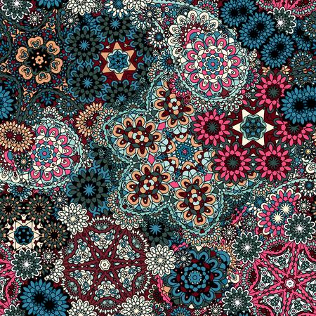 mehendi: Seamless pattern with mehendi elements. Paisley indian vector illustration. Blue white rose pink background. Illustration
