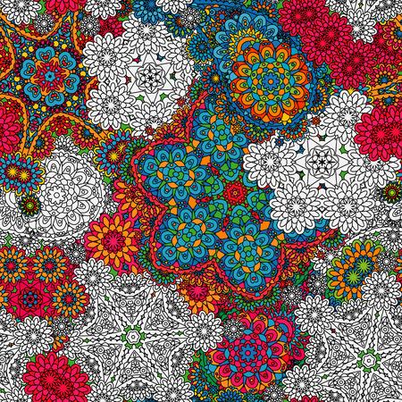 mehendi: Seamless pattern with mehendi elements. Paisley indian vector illustration. Colorful blue orange red background.