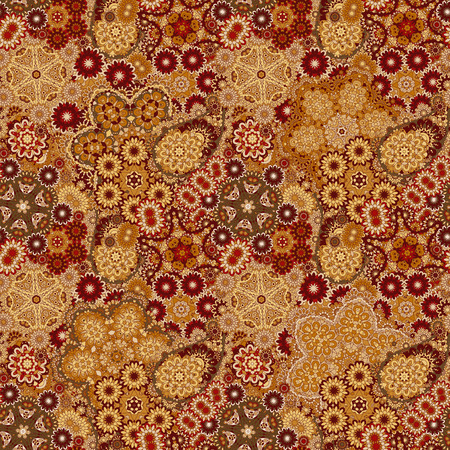 brown wallpaper: Vector floral paisley seamless pattern. Seamless pattern with mehendi elements. Colorful blue gold brown wallpaper background. Illustration