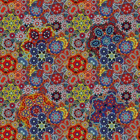 Paisley seamless pattern. Vintage red brown blue background in batik style 일러스트
