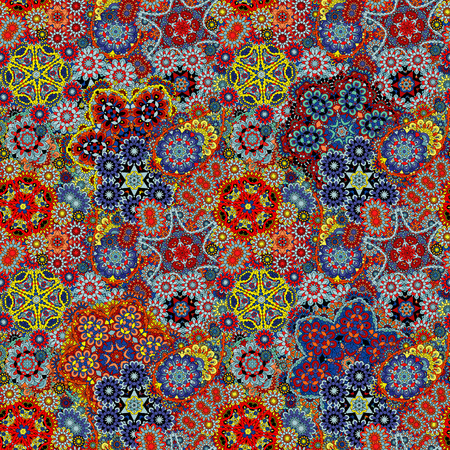 Paisley seamless pattern. Vintage red brown blue background in batik style Çizim