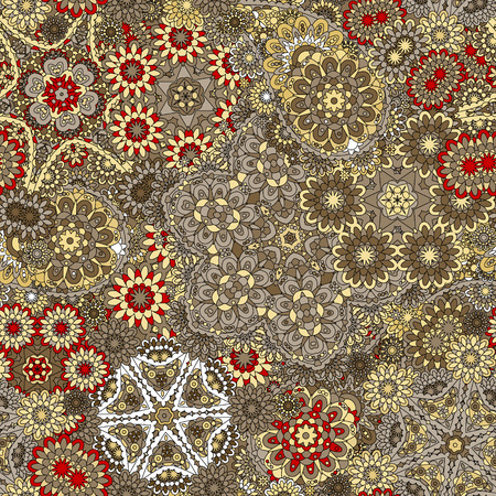 Paisley seamless pattern. Vintage red brown gold background in batik style Çizim