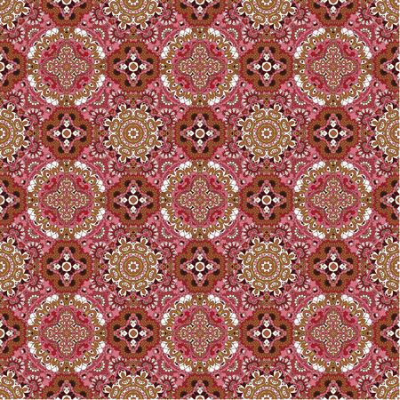 pink brown: Luxury colorful floral seamless pattern background. Ornamental round lace pattern, circle pink brown background Illustration