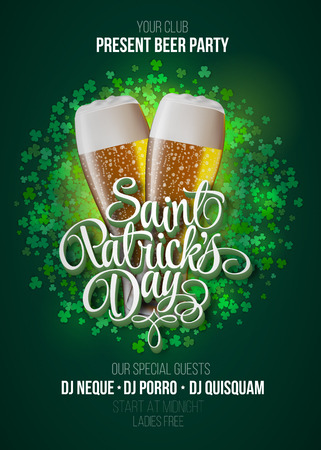 St. Patricks Day poster. Beer party green background with calligraphy sign and two yellow beer glasses. Vector illustration