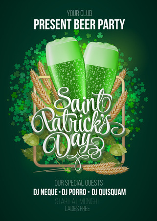 St. Patrick's Day poster. Beer party green background with calligraphy sign and two green beer glasses in frame with ears of wheat and hop. Vector illustration