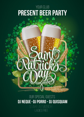 St. Patrick's Day poster. Beer party green background with calligraphy sign and two yellow beer glasses in frame with ears of wheat and hop. Vector illustration Vettoriali