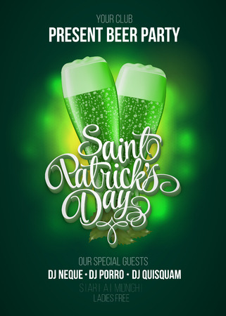 St. Patrick's Day poster. Beer party green background with calligraphy sign and two green beer glasses. Vector illustration