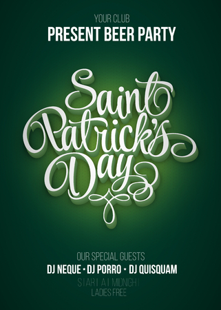 st patricks party: St. Patricks Day poster. Beer party green background with calligraphy sign. Vector illustration