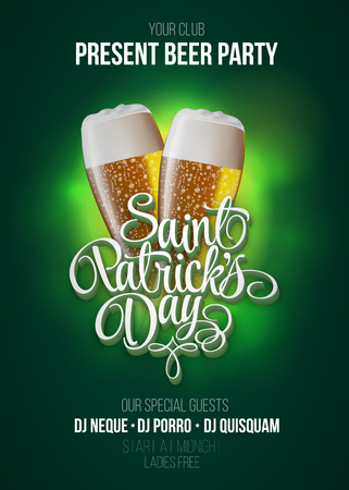 st patricks party: St. Patricks Day poster. Beer party green background with calligraphy sign and two yellow beer glasses. Vector illustration