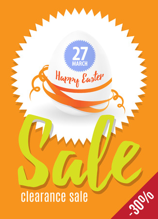 flier: Easter sale egg illustration for greeting card, ad, promotion, poster, flier, blog, article, social media.