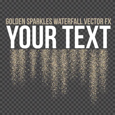 Vector golden sparkling falling tails. Stardust trail. Firework glittering wave