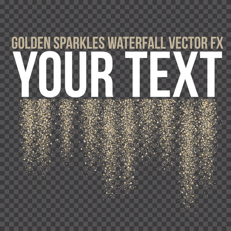 Vector golden sparkling falling tails. Stardust trail. Firework glittering wave