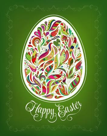 Tarjeta de Pascua feliz. Garabatos de huevos de colores de flores adornado y las letras sobre fondo verde.