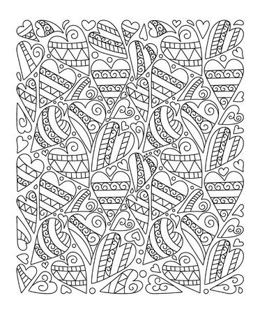 Patrón Para Colorear Vector En Forma De Corazón. Diseño En El Estilo ...