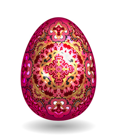 smooth shadow: Colorful Single Vector Easter Egg with Abstract Colorful Pattern - Beautiful Close Up Design with Smooth Shadow on the Ground. Gold and bright pink ornate pattern on vineus egg.