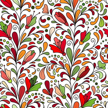composition art: Ornate floral seamless texture, hand draw endless pattern with flowers. Colorful doodle. Can be used for wallpaper, pattern fills, web page background, surface textures.
