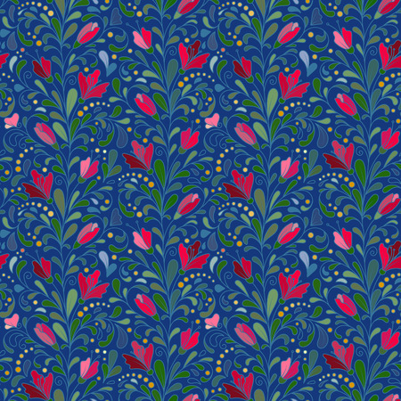 navy blue background: Colorful hand drawn vector seamless floral pattern with colorful flowers and leaves on navy blue background. Doodle.
