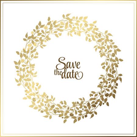 Marco de la hoja de la cuerda de oro sobre un fondo blanco con un lugar para el texto. Círculo corona de flores naturales para tarjetas de invitación, ahorre la fecha, el diseño de tarjetas de boda. Ilustración de vector