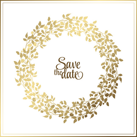 Gold leaf Rope frame on a white background with a place for your text. Circle natural wreath for invitation cards, save the date, wedding card design.