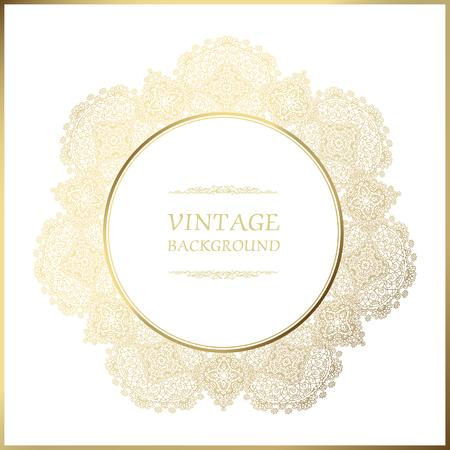 Fondo de la vendimia, marco redondo ornamental, plantilla de la etiqueta del oro del vector. Marco de oro sobre fondo blanco.
