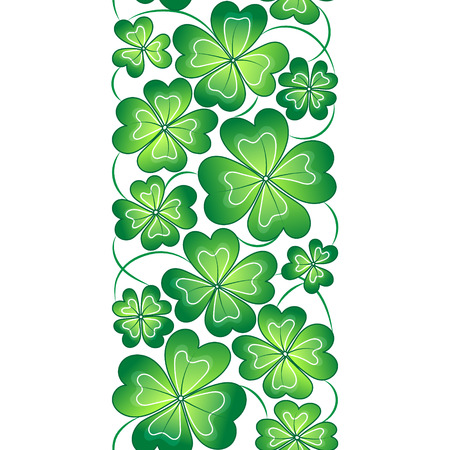 four leafed: Vector seamless border with clover leaves. St. Patricks day  pattern
