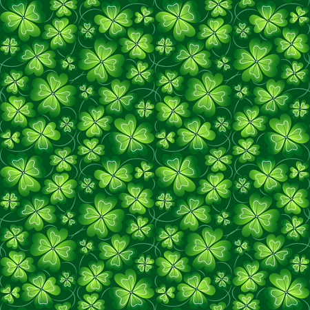 four leafed: Dark green hand drawing seamless clover pattern, vector background for St. Patricks Day