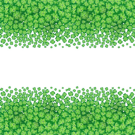 four leafs clover: St. Patricks day card, clover borders with hand - drawn floral ornaments on white background