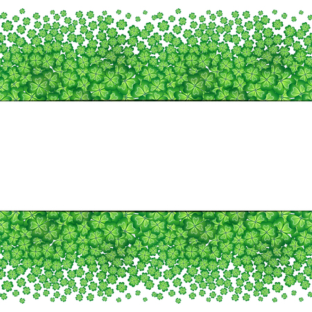 patrick's: Four leaf clovers abstract template. St. Patricks Day vector background.