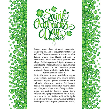 four leaf clovers: Four leaf clovers abstract template. St. Patricks Day vector background. Lettering pattern.
