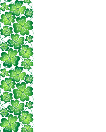 four leafed: Vector template with seamless clover leaves border. St. Patricks day pattern.