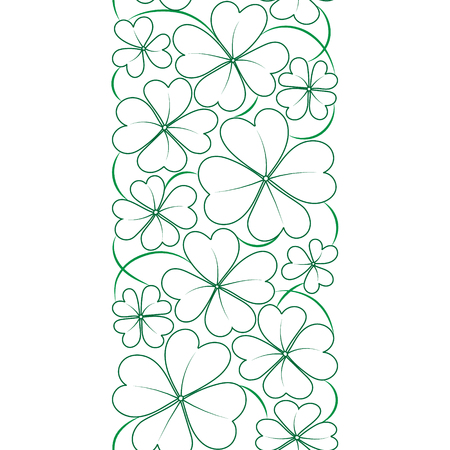 three leafed clover: Vector seamless border with conture clover leaves. St. Patricks day pattern