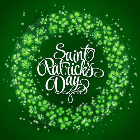 irish beer label: Clovers and original lettering St. Patricks Day on a green wreath background.  Illustration for St. Patricks day  posters, greeting cards, print and web projects. Illustration