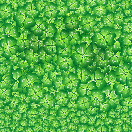 seamless clover: Vector illustrations of  seamless pattern of meadow clover green leaves