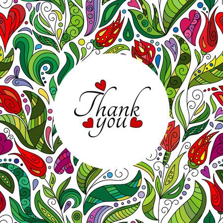 Thank you card design, hand drawn cute flowers.