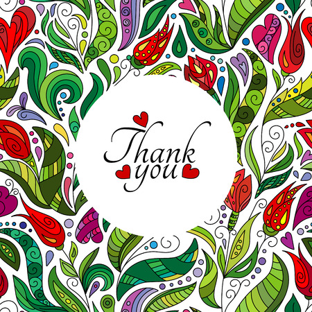 acknowledgment: Thank you card design, hand drawn cute flowers.