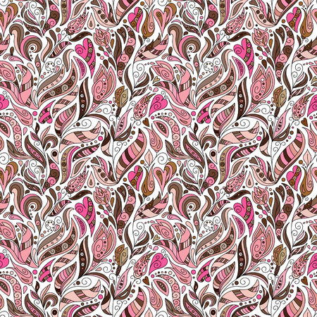 pink brown: Vector seamless floral pattern in doodle style. Bright pastel pink brown pattern with flowers, hearts and leaves. Background for wallpaper, paper, greeting cards, invitations and tissues.