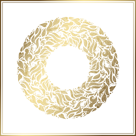chaplet: Gold round frame on white background.. Vector floral decoration made from swirl shapes. Greeting, invitation card. Simple decorative black and gold illustration for print, web. Illustration