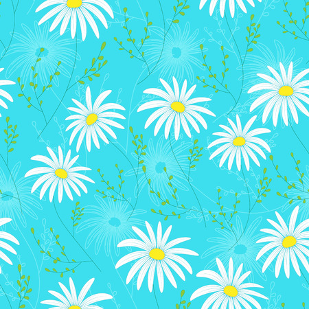 etched: Floral seamless pattern with delicate flowers, hand-drawing. Vector illustration. Daisy Themed Repeating Pattern.