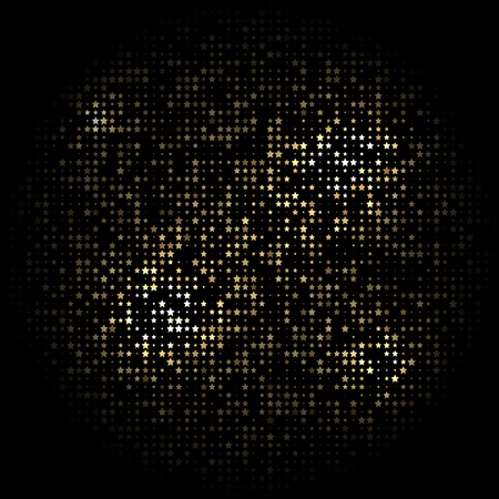 arranged: Black background with gold stars arranged in a circle Illustration