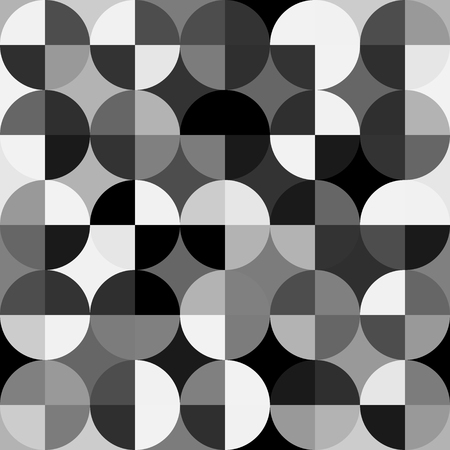 Retro abstract seamless pattern. Black and white. Illustration