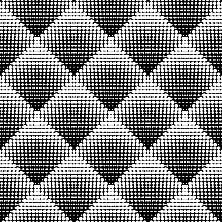 Motif Vector Seamless noir et blanc piquetis Rhombus Gradient Halftone Cercle Dot travail Résumé Contexte