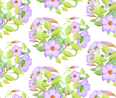 ornamental design: Seamless floral pattern with adenium, watercolor imitation. Vector illustration. Lilac flowers and light green leaves in heart.