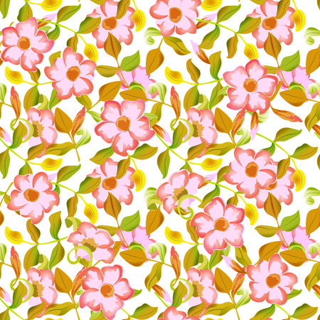 green background pattern: spring floral garden seamless pattern Illustration