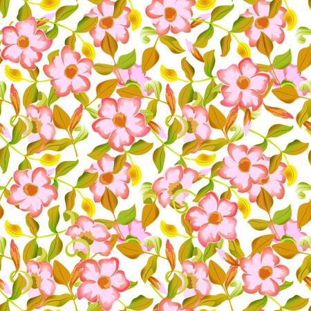 green grunge background: spring floral garden seamless pattern Illustration