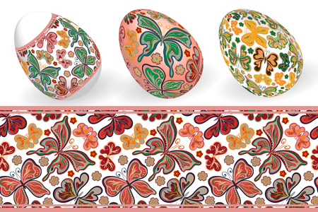 Set of Isolated Easter eggs and seamless batterfly patterns. Happy Easter. Vector objects. 3D. Realistic Easter eggs. Vector background. Easter. Illustration