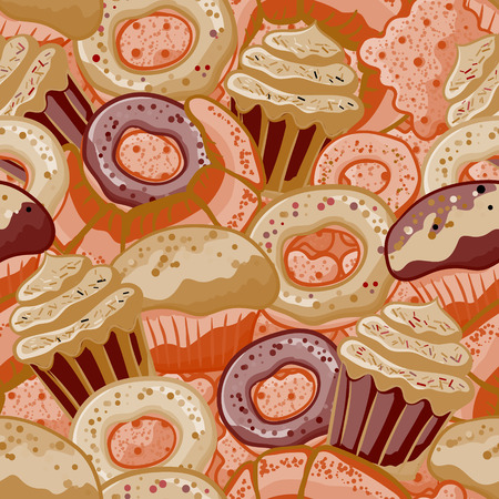 baked goods: Vector food bakery seamless pattern with baked goods. Flour products from pastry shop. Illustration for print, web. Original design element. Chocolate colors.